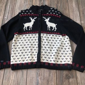 Woolrich Black Full Zip Reindeer Christmas Sweater